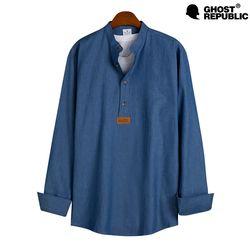 MSH-536 베이직 데님 헨리넥 긴팔 셔츠