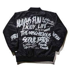 BSRABBIT Attention Stadium jacket Black