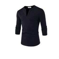 남성 포인트 슬릿넥 7부 티셔츠 NK7T83