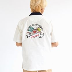TROPICAL FLOWER BOWLING SHIRTS WHITE