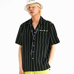 DELTA STRIPED BOWLING SHIRTS NEON GREEN