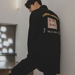 SYNTHESIZER SOUVENIR SHIRT JACKET BLACK