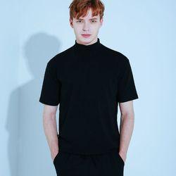 하프 폴라 반팔 티셔츠 블랙