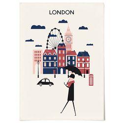 패브릭 포스터 F214 일러스트 그림 런던 [중형]