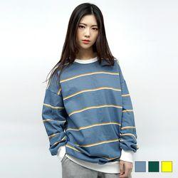 2083 파스텔 단가라 맨투맨 티셔츠 (3colors)
