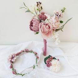 로즈로맨틱 웨딩부케 + 화관