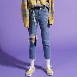 Knee Hole Destroyed Jeans(여성용)(girls)