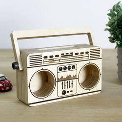 자작나무 무전원스피커 라디오