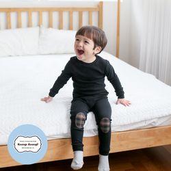 [긴팔실내복]모노패치실내복(블랙)