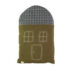House Midi cushion - moss & pebble ikat (29x47cm)