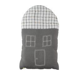House Midi cushion - smoke & ikat ivory (29x47cm)