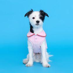 플로트 와이드카라 티셔츠 - 핑크