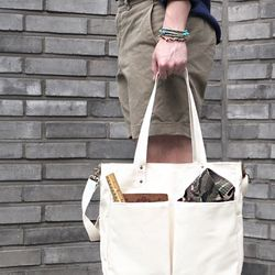 6 Pocket 3 Way Bag Super Oxford ( Ivory )