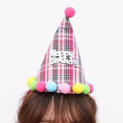 생일 체크 고깔모자 (핫핑크)