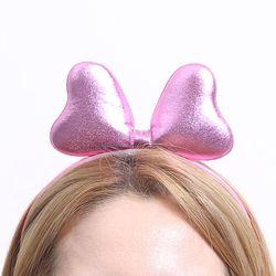 칼라 폼 리본 머리띠 (핑크)
