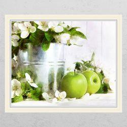 ch869-풋사과와꽃수채화창문그림액자