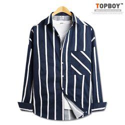 [탑보이] 오버핏 스트라이프 포켓 긴팔 셔츠 (MN472)