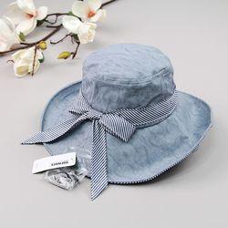 [더로라]넓은챙천모자- 와이어 리본 모자 H804