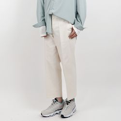 Spring crop wide cotton pants
