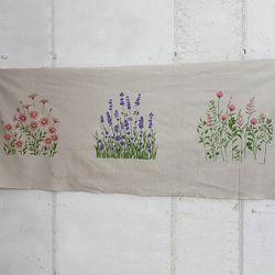 린넨 원단 : 들꽃 컷트지