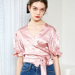 Puff Wrap Blouse Baby Pink