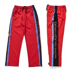 BSRABBIT DOUBLE LINE TRACK PANTS RED