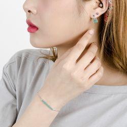 P6289 스퀘어 큐빅 귀걸이 팔찌세트(케이스포함)
