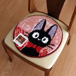 마녀배달부 고양이 지지 원형 체어매트