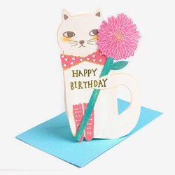 꽃을 든 고양이 화이트 입체 스탠딩 카드