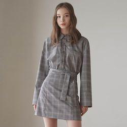 스프링 체크 셔츠 + 스커트 투피스 세트
