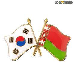 세계각국의 휘날리는 국기교차뺏지(한국-벨라루스)