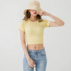 [로코식스] 프롬 골지 크롭 티셔츠