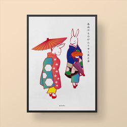 일본 유니크 디자인 포스터 M 토끼게이샤 A3(중형)