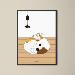 유니크 디자인 포스터 M 낮잠고양이 A3(중형)