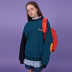 [N] Block elbow point sweatshirt-blue green