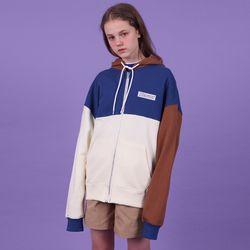 [N] Colorblock hoodie zipup-blue
