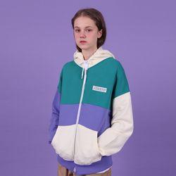 [N] Colorblock hoodie zipup-emerald
