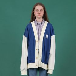 [N] N logo oversized cardigan-blue