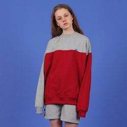 [N] Ncover half color sweatshirt-red