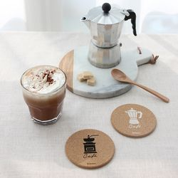 코르크 코스터 2p 세트 (카페)