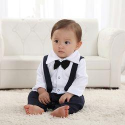 귀여운 턱시도 멜빵 우주복(0-24개월) 300202