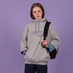 [N] Short sleeve hoodie-gray
