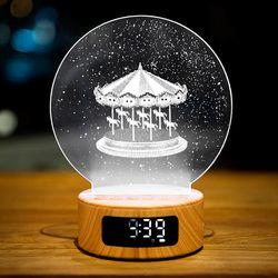 [단독판매] 아크릴무드등 LED탁상시계 블루투스 스피커기능
