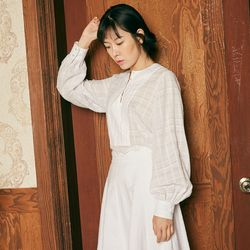 CHECK SLAB VOLUME BLOUSE [WHITE]