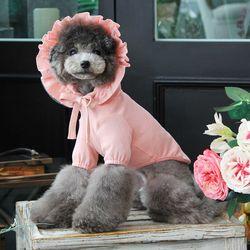 도트 꽃 후드 티셔츠 핑크(M042)