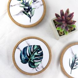 보타니컬 식물 통코르크 코스터 올리비아 6종