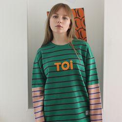 TOi TOKYO 그린 ST 티셔츠 배색 베이지
