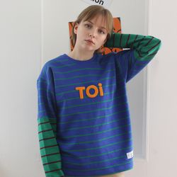 TOi TOKYO 블루 ST 티셔츠 배색 그린