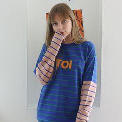 TOi TOKYO 블루 ST 티셔츠 배색 베이지