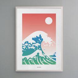 일본 디자인 포스터 M 호쿠사이 파도 A3(중형)